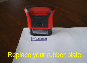 Rubber plate replacement on Trodat Printy self inking stamp