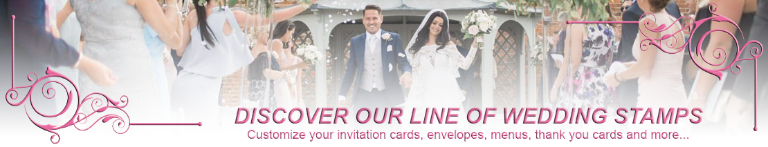 Customize your invitation cards, envelopes, menus, thank you cards and more... with our wedding stamps collection.